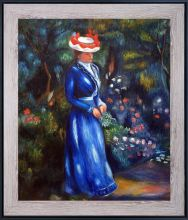 Woman in a Blue Dress, Standing in the Garden of Saint Cloud Pre-Framed