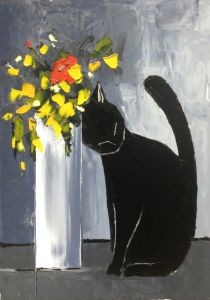 Black cat and his flowers