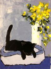 Black cat is sleeping