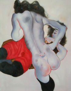 Liegende Frau mit roter Hose und Stehender Weiblicher Akt