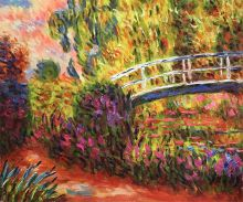 The Japanese Bridge (The Water-Lily Pond, Water Irises)