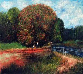 Bluhender Kastanienbaum