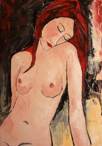 Young girl with red hair in nude
