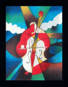 Abstract Cellist Pre-Framed