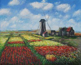 Tulip Field with the Rijnsburg Windmill