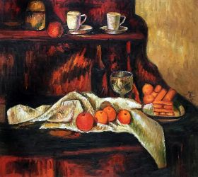 Receptacles, Fruit and Biscuits on a Sideboard